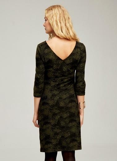 Hooyo Emzirme Özellikli Kayık Yaka Hamile Elbisesi Yeşil